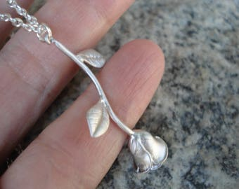 Rose Necklace Silver Rose Pendant Rose Charm Necklace Long Stemmed Rose Necklace Gift for Her Rose Jewelry
