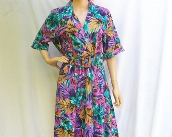 SALE 80s Tropical Floral Dress size Large Extra Large Full Skirt