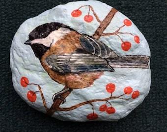 Chickadee painted rock paperweight