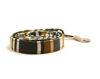 """Green striped dog leash - Hammock pet lead - Green and white striped dog lead - 3/4"""" wide x 3.8 foot long - UV resistant"""