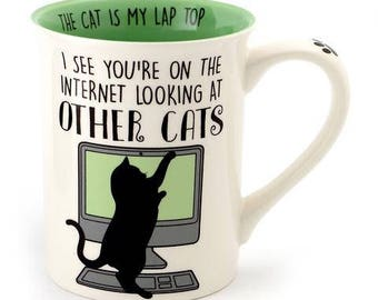 Cat mug, funny mug for cat lover, cats and computers, internet cats, gift for crazy cat lady