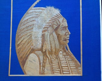 American Indian Chief portrait handmade with dried leaves of rice plant.Only one madeMuseum quality art. American Indian chief collectible a