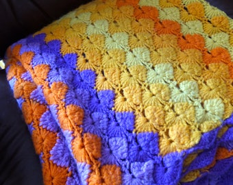"Vintage Colorful Wool 1970s Afghan Blanket Laurel Canyon Hippie Modern Hand Crochet Knit Large 71"" X 50"" Winter Man Cave Mod Brady Bunch 70s"