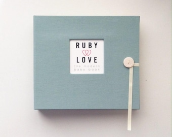 BABY BOOK | Solid Blue-Grey Album - Ruby Love Modern Baby Memory Book