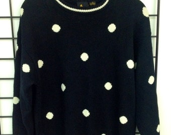 40% OFF The Vintage Black Polka Dot Print Sweater Dress