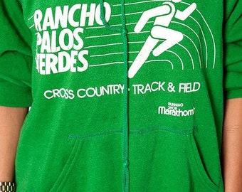 40% OFF The Vintage 50/50 Green Rancho Palos Verdes Cross Country Track and Field 1980s Marathon Hoodie Sweatshirt
