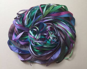Silk Ribbon Remnants - Teal, Blue and Purple