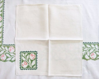 Vintage Linen Tablecloth and 11 Napkins in Green Cross Stitch 71 x 84