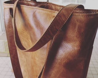 Distressed Leather Tote Bag in medium brown leather with pockets outside and inside  leather bag handmade leather tote