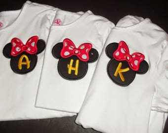 Minnie Initial Applique Shirts