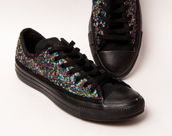 Sequin - Rainbow Spec Over Black Multi-Colored Custom Canvas Converse Low Top Sneakers Shoes