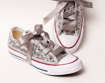 Tiny Sequin - Silver Canvas Converse All Star Low Top Sneakers Shoes with Satin Ribbon Laces