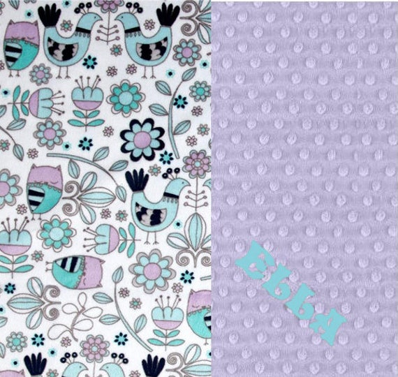 Baby Blanket, Personalized Minky Baby Blanket Girl Gray Lavender Aqua Owl Birds - Nursery Decor / Mint Baby Blanket / Name Baby Blanket