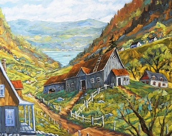 On Sale Charlevoix Valley Large original oil painting created by Prankearts