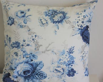 Sanctuary Rose Blue Floral Pillow Covers - Select Your Size