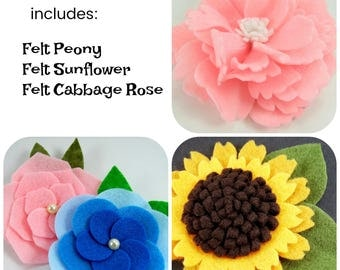 Felt Flower Tutorial Bundle ... includes 3 flower tutorials