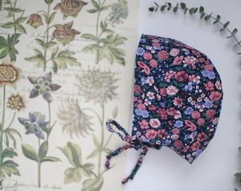 Vintage Floral bonnet | Blue Floral Bonnet | Baby Bonnet | Floral Baby Bonnet | Vintage Floral Hat | Baby Sunhat | Modern Bonnet