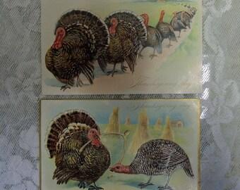 Vintage Thanksgiving Postcards, Set Of 2