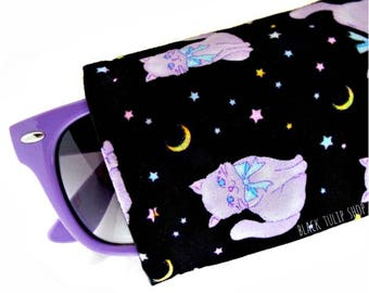 Pastel Goth Eyeglasses Cases Kawaii Sunglasses Case Sleeve Soft Lightweight Reading Glasses Magical Kitty Cat Eyeglass Case Holder Pouch