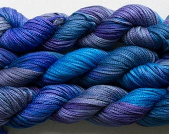 Junco, Rayon Tape Ribbon, Hand dyed  104 yds - Night Sky