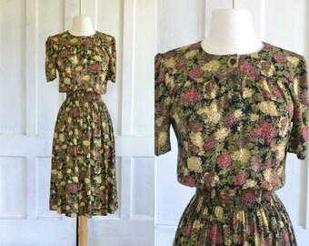 90s Grunge Dress Cute Day Dress Wide Smocked Waist Secretary Dress