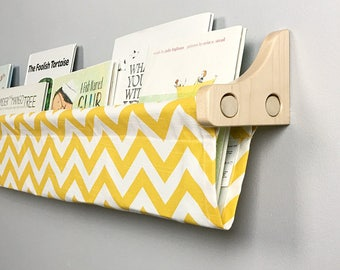 Book Sling and Wooden Brackets- Yellow and White Chevron Book Sling- you choose size