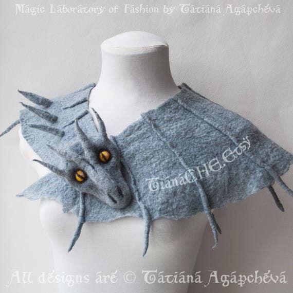 2f2f5da78eb Scarf Wool Felt Scarf Felted Scarf Merino Designer Scarf Stole Cape Wrap  Cover Up Caplet Dragon Daenerys Targaryen Game of Thrones