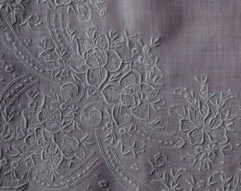Beautiful White Work Vintage Embroidery Handkerchief