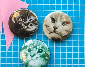 Vintage Cats 25mm / 1 inch + 58mm badges / pins