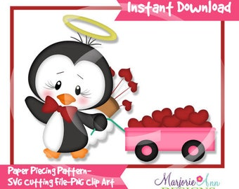 So In Love Penguin & Wagon Paper Piecing File,SVG File,penguin svg, valentine svg, svg, penguin Clip Art, valentine Clip Art, svg file