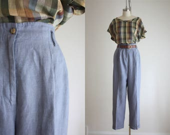 blue linen trousers