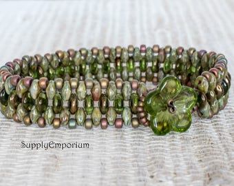 Olive Green Lentil and Superduo Bead Woven Bracelet, Superduo and Lentil Olivine Beaded Bracelet with Flower Button