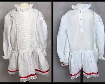 1970s or 80s Little Girls White Dress with Ruffled Stand Up Collar, Dropped Waist, and Lace and Ribbon Trim - Size 3T