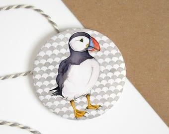 Puffin pocket mirror - puffin art - bird pocket mirror - watercolour puffin - puffin gift - stocking filler - pocket mirror