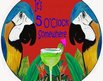 It's 5 o'clock somewhere parrot head car coasters from my artwork
