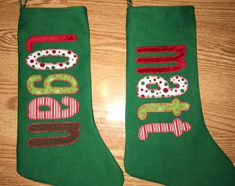 Custom Personalized Christmas  Appliqué Name stocking