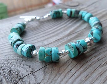 Genuine Natural Turquoise with Fine Silver and Sterling Sterling Bracelet