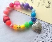 Locket bracelet, kids locket, heart locket, locket jewelry, rainbow bracelet, rainbow jewelry, kids birthday gift.