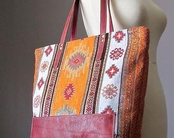 Bohemian Leather Shoulder Tote Bag, Fabric Leather bag, Shopping bag, Modern Hippie bag, Boho bag carry all bag, Handmade by VitalTemptation