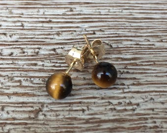 Gold Tiger's Eye Stud Earrings 14K Tiny Studs Tiger Eye