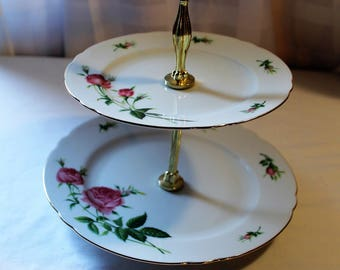 Vintage 2-Tier Christineholm Porcelain Rose Tidbit Tray