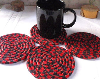 Red and Black Coiled Fabric Coasters - Set of 4 - Handmade by Me, Absorbent Coasters for Your Table