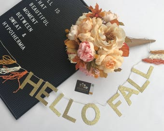 HELLO FALL  banner with tassels