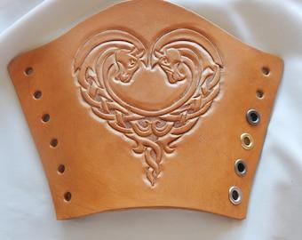 Celtic horses leather bracers, leather cuffs, armor, costume, LARP