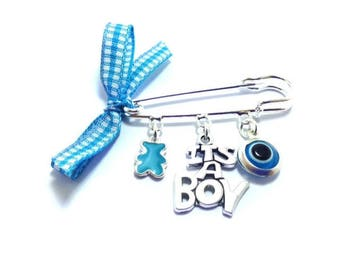Lucky Evil Eye Safety Pin - it's a boy - New mommy - Baby shower - baptism - birth announcement - stroller - baby gift
