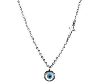 Evil eye necklace & cross - mother of pearl - stainless steel - protection - Greek jewelry - Gift for her