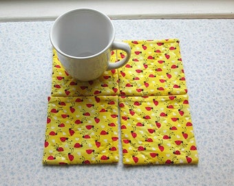 MARKED DOWN was 10 NOW 6 yellow lady bug hand quilted set of mug rugs coasters