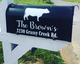 Mailbox Address with Cow - Mailbox Decal - Vinyl Decal - Farm - Sticker - Curb Appeal - Mailbox Numbers - Address Decal