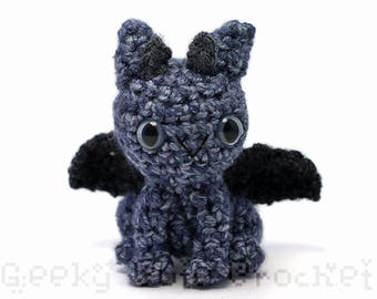 Speckled Gray Silver Dragon Plush Toy Stuffed Animal Amigurumi Crochet