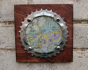 """6""""x6"""" Recycled Bicycle Chainring Telluride/Ouray Plaque"""